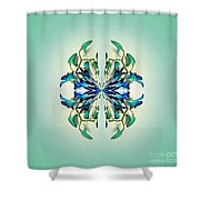 Symmetrical Orchid Art - Blues And Greens Shower Curtain