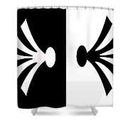 Symmetry In Black And White Digital Painting Shower Curtain