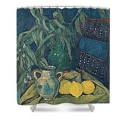 Synchrony In Green Shower Curtain
