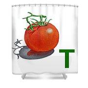 T Art Alphabet For Kids Room Shower Curtain by Irina Sztukowski