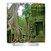 Ta Prohm And Tree Invasion In Angkor Wat Archeologial Park Near Siem Reap-cambodia Shower Curtain