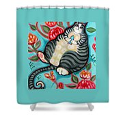 Tabby Cat On A Cushion Shower Curtain