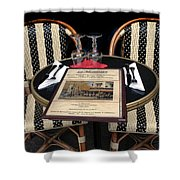 Table For Two In Paris Shower Curtain