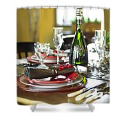 Table Setting With Red And White Shower Curtain