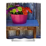Table Top Flowers Shower Curtain