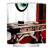 Table With Hat And Book Shower Curtain