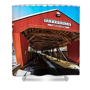 Taftsville Covered Bridge In Vermont In Winter Shower Curtain