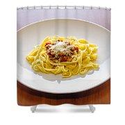 Tagliatelle Bolognese Sauce With Parmesan Shower Curtain