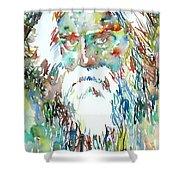 Tagore Watercolor Portrait Shower Curtain