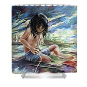 Tahitian Boy With Knife Shower Curtain
