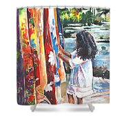 Tahitian Girl With Pareos Shower Curtain
