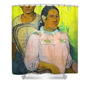 Tahitian Woman And Boy Shower Curtain