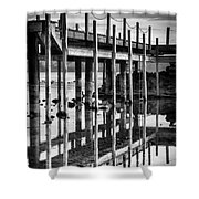 Tahoe Pier Reflection Shower Curtain