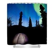 Taiga Tent Illuminated Under Northern Lights Flare Shower Curtain
