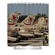 Tail Fins Of Israeli Air Force F-16`s Shower Curtain
