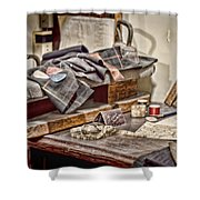 Tailors Work Bench Shower Curtain