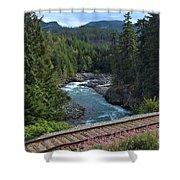 Train Tracks By The Cheakamus River Shower Curtain