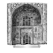 Taj Mahal Close Up In Black And White Shower Curtain