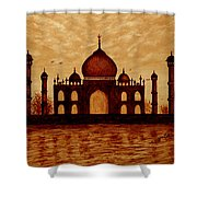 Taj Mahal Lovers Dream Original Coffee Painting Shower Curtain