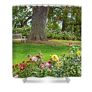 Take A Seat - Beautiful Rose Garden Of The Huntington Library. Shower Curtain