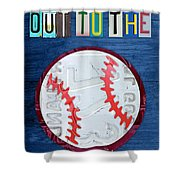 Take Me Out To The Ballgame License Plate Art Lettering Vintage Recycled Sign Shower Curtain