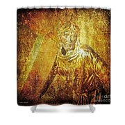 Takes Up The Cross  Via Dolorosa 2 Shower Curtain by Lianne Schneider