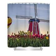 Taking Off At Tulip Field Shower Curtain