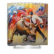 Taking On The Wall Street Bull Shower Curtain