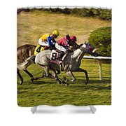 Taking Over - Del Mar Horse Race Shower Curtain
