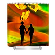 Taking The Butterflies Road - Fantasy Painting By Giada Rossi Shower Curtain by Giada Rossi