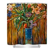 Tall Blue Vase Shower Curtain