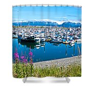 Tall Fireweed By The Marina Along Homer Spit-ak  Shower Curtain