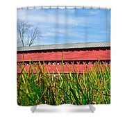 Tall Grass And Sachs Covered Bridge Shower Curtain
