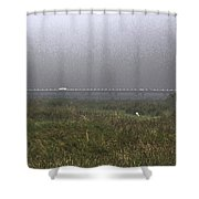 Tall Grass And View Of Bridge Shower Curtain