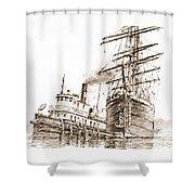 Tall Ship Assist Sepia Shower Curtain