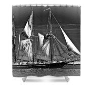 Tall Ship Bw Shower Curtain