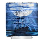 Tall Ship By Moonlight Shower Curtain