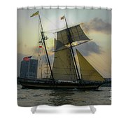Tall Ship Chasing The Sun Shower Curtain