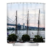 Tall Ship Gazela At Penns Landing Shower Curtain by Bill Cannon