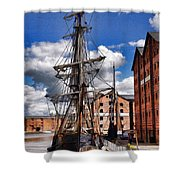 Tall Ship In Gloucester Docks Shower Curtain