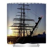 Tall Ship In Ibiza Town Shower Curtain