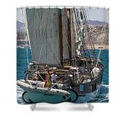 Tall Ship Isla Ebusitania  Shower Curtain