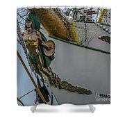 Tall Ship Masthead - Cisne Branco - Brazilian Tall Ship Shower Curtain