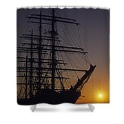 Tall Ship Silhouetted Shower Curtain