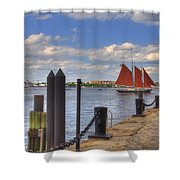 Tall Ship The Roseway In Boston Harbor Shower Curtain by Joann Vitali