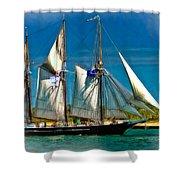 Tall Ship Vignette Shower Curtain by Steve Harrington