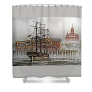 Tall Ship Waterfront Shower Curtain