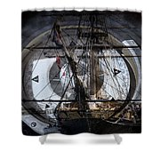 Tall Ship With Compass 2013 Shower Curtain