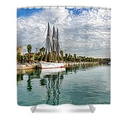 Tall Ships And Palm Trees - Impressions Of Barcelona Shower Curtain