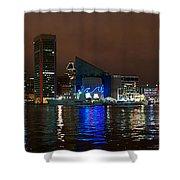 Tall Ships At Night Pano 2 Shower Curtain